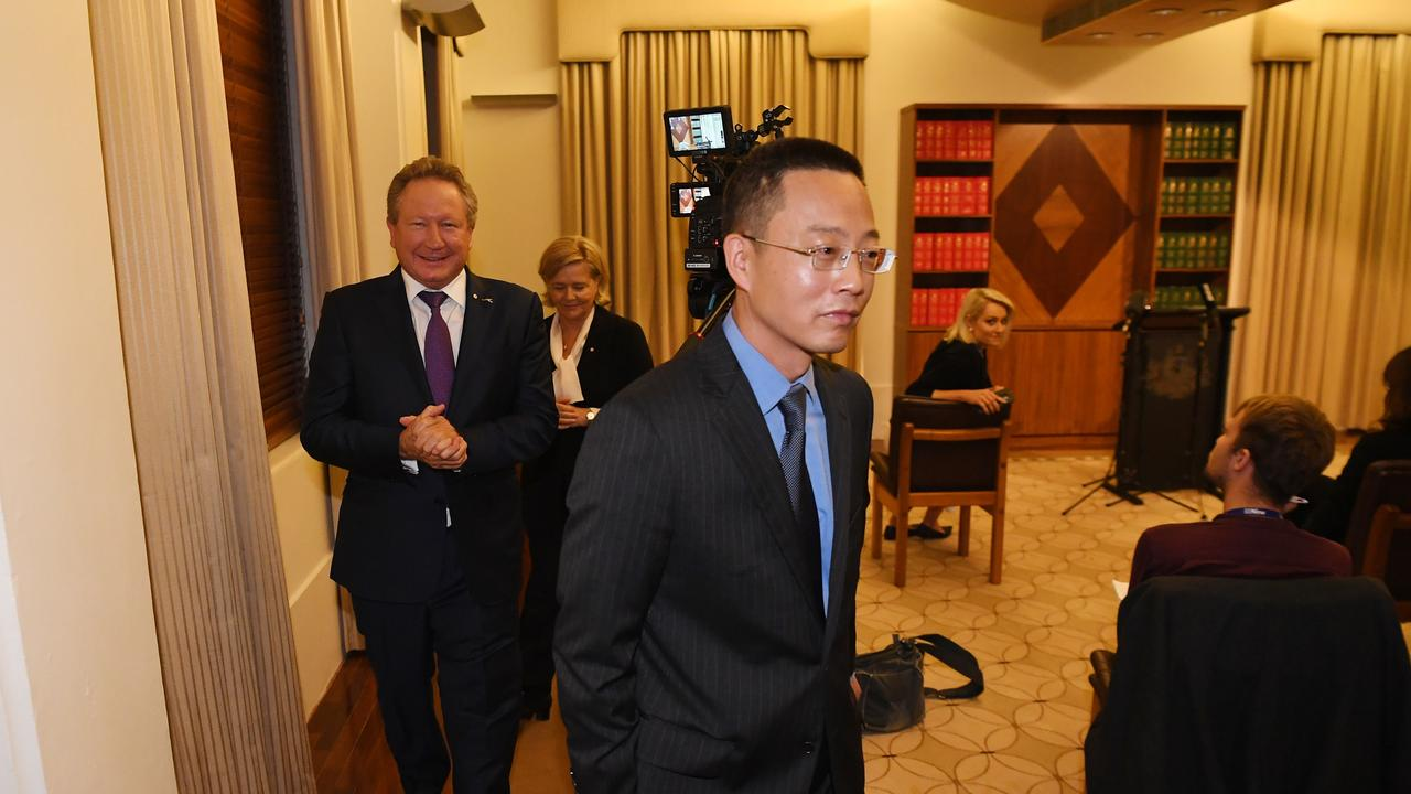 Andrew 'Twiggy' Forrest and consul general Long Zhou at the Melbourne press conference on Wednesday. Picture: James Ross