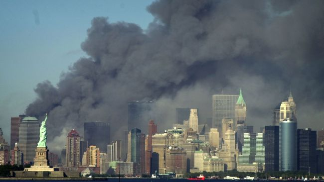 Thick smoke filled the New York skyline on September 11, 2001 after two planes hijacked by terrorists hit the World Trade Center. Picture: AP/Daniel Hulshizer