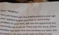 Neighbour's note to mum to keep toddler inside