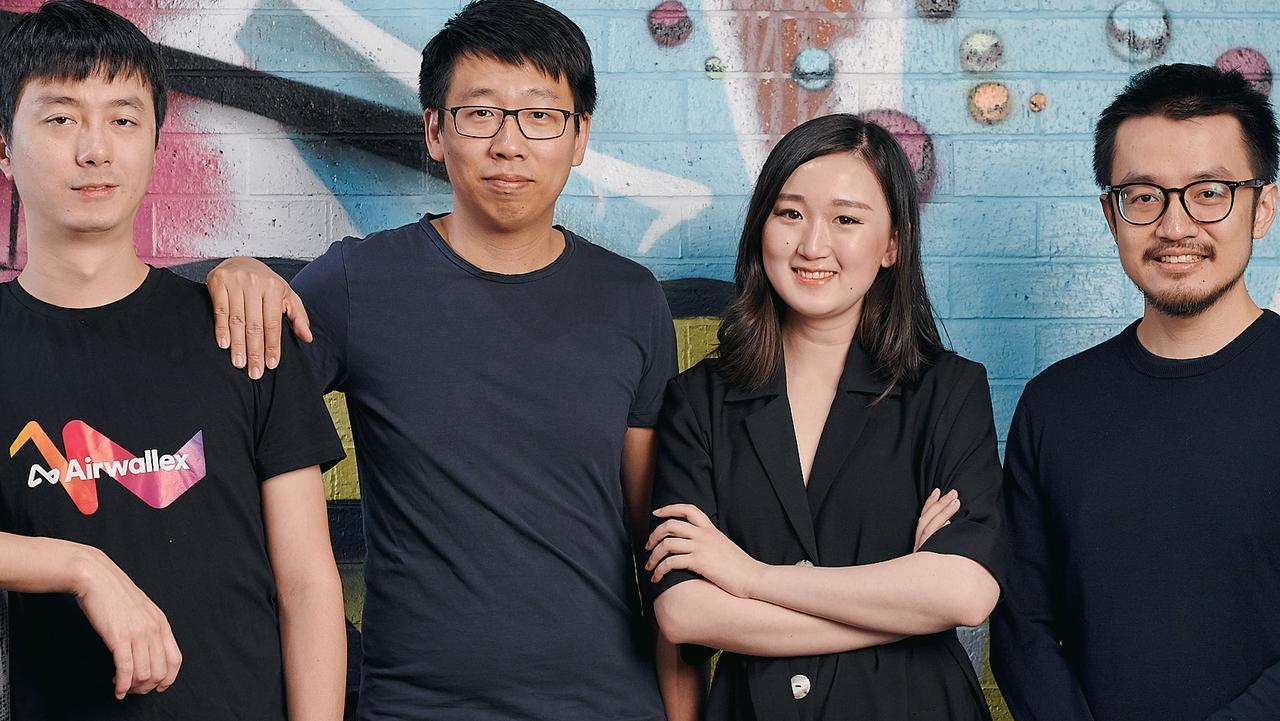 Airwallex founders L-R Xijing Dai, Jack Zhang, Lucy Liu, Max Li. Picture: Supplied