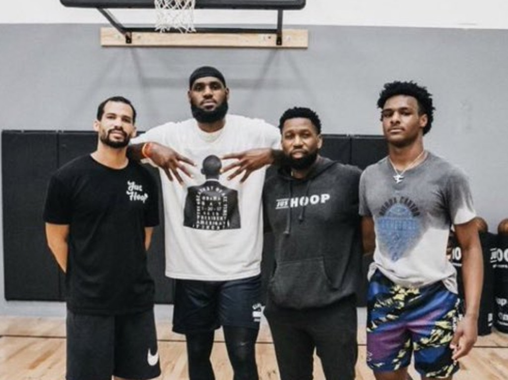 LeBron James and Bronny in the gym. Photo: Instagram.