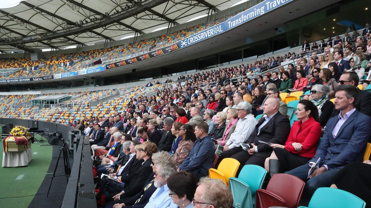 The crowd gathered at the Gabba. Picture: Liam Kidston
