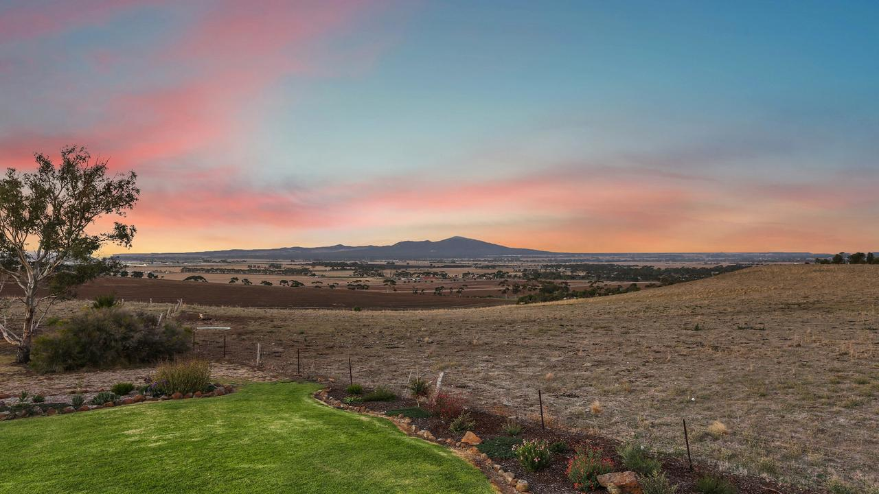 The view north from the home block at 140 Staceys Rd, Lara, frames the You Yangs.