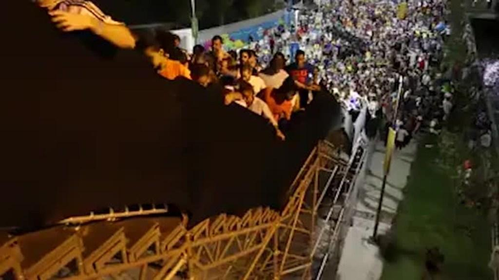 Makeshift stairs wobble under weight of World Cup fans at Maracana