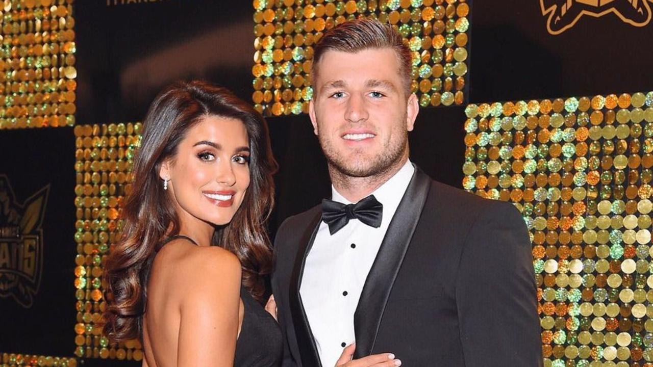Queensland Origin player Jai Arrow has been kicked out of Game Three for 2021 for braking Covid Quarantine bubble rules and is pictured with his partner Taylah Cannon Picture Instagram