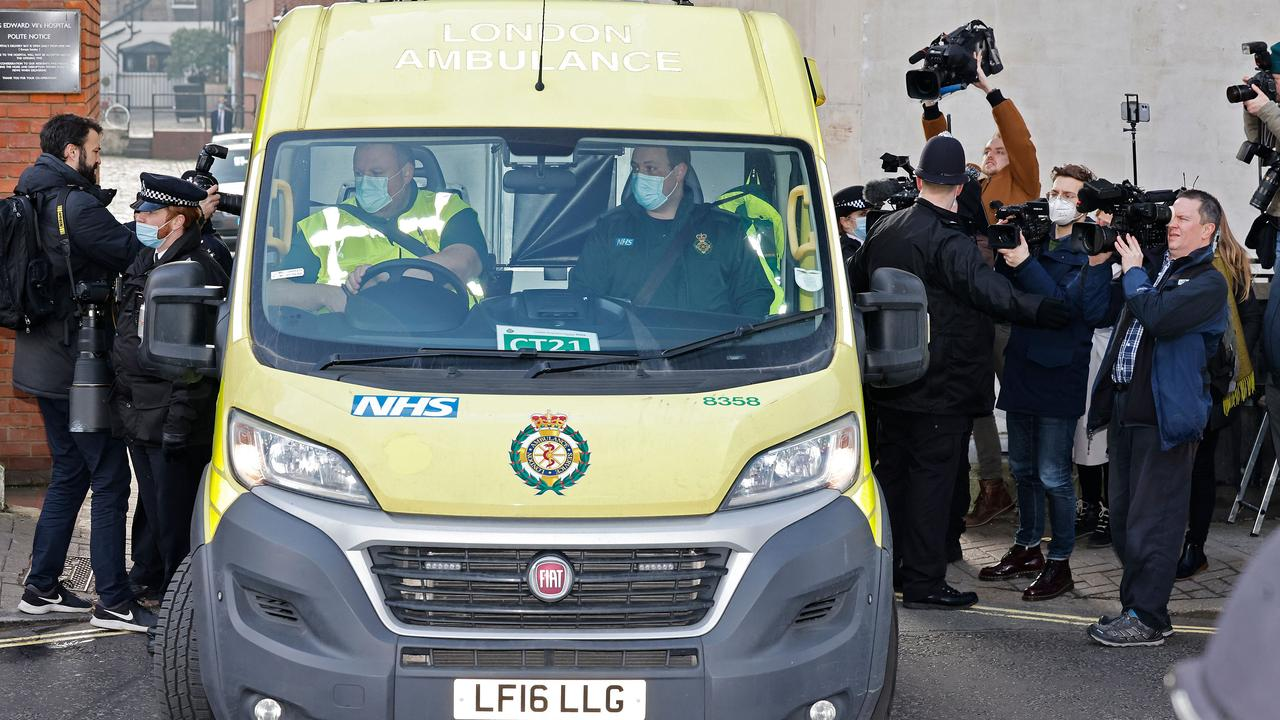 An ambulance leaves from the rear entrance of King Edward VII's Hospital on March 1, where Philip had been since February 16. Picture: Tolga Akmen/AFP