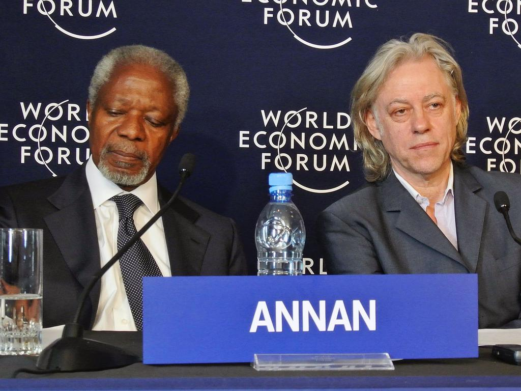 Former UN Secretary General Kofi Annan and founder of Live 8 charitable foundation and former rock star Bob Geldof launch the Africa Progress Report in Addis Ababa, on May 11, 2012. Picture: AFP