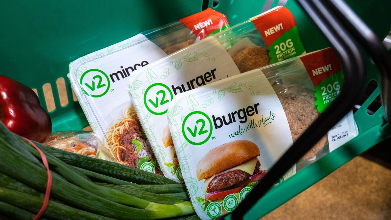 The v2food plant-based meat will be in the meat aisle, where vegans and vegetarians might not normally venture.
