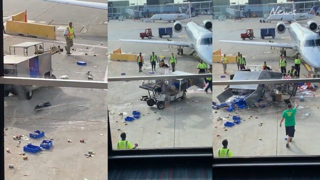 Malfunctioning vehicle on tarmac stopped by hero worker