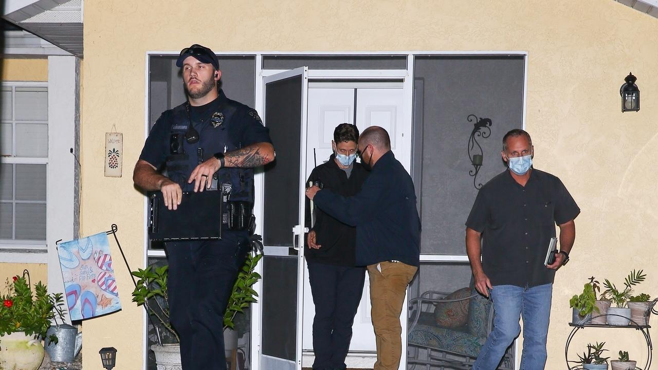 Police leave Brian Laundrie's home. Picture: Maciel / Backgrid