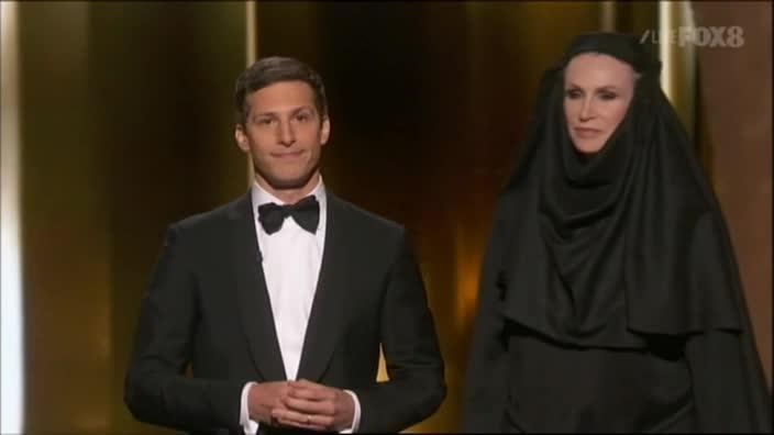 Andy Samberg threatens Emmy winners with mean nun
