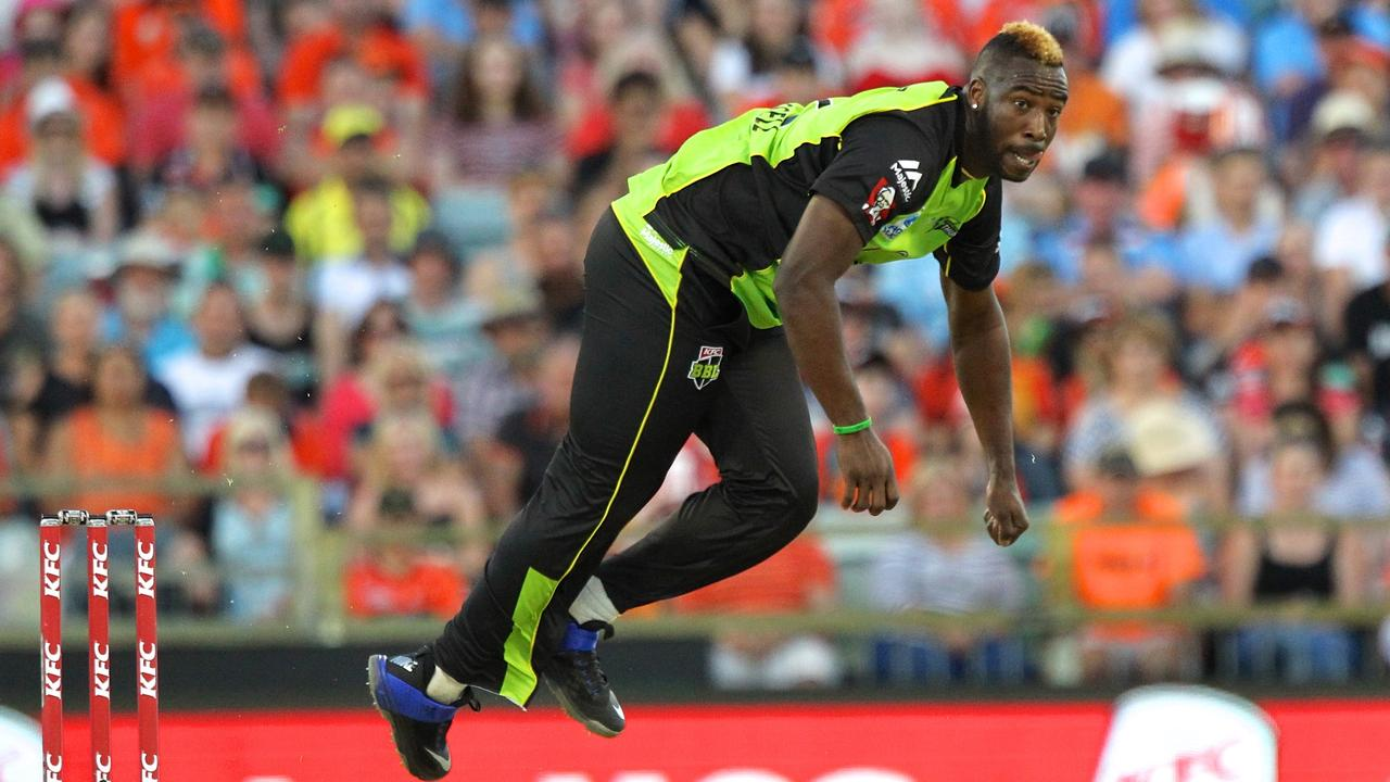 West Indian Andre Russell was a revelation in his time with the Sydney Thunder. Picture: AAP Image/Richard Wainwright