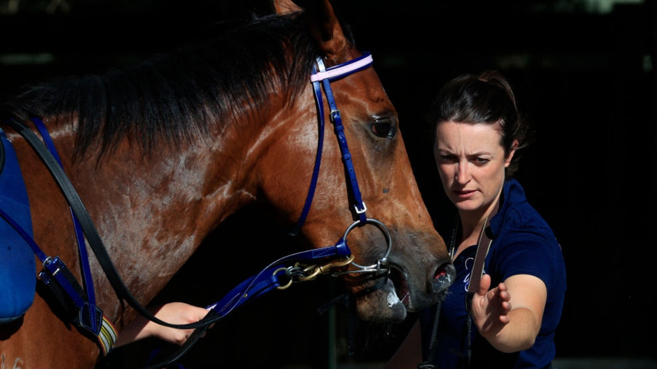 SYDNEY, AUSTRALIA - OCTOBER 09: Trainer Annabel Neasham   is seen during the barrier trials at <a target=