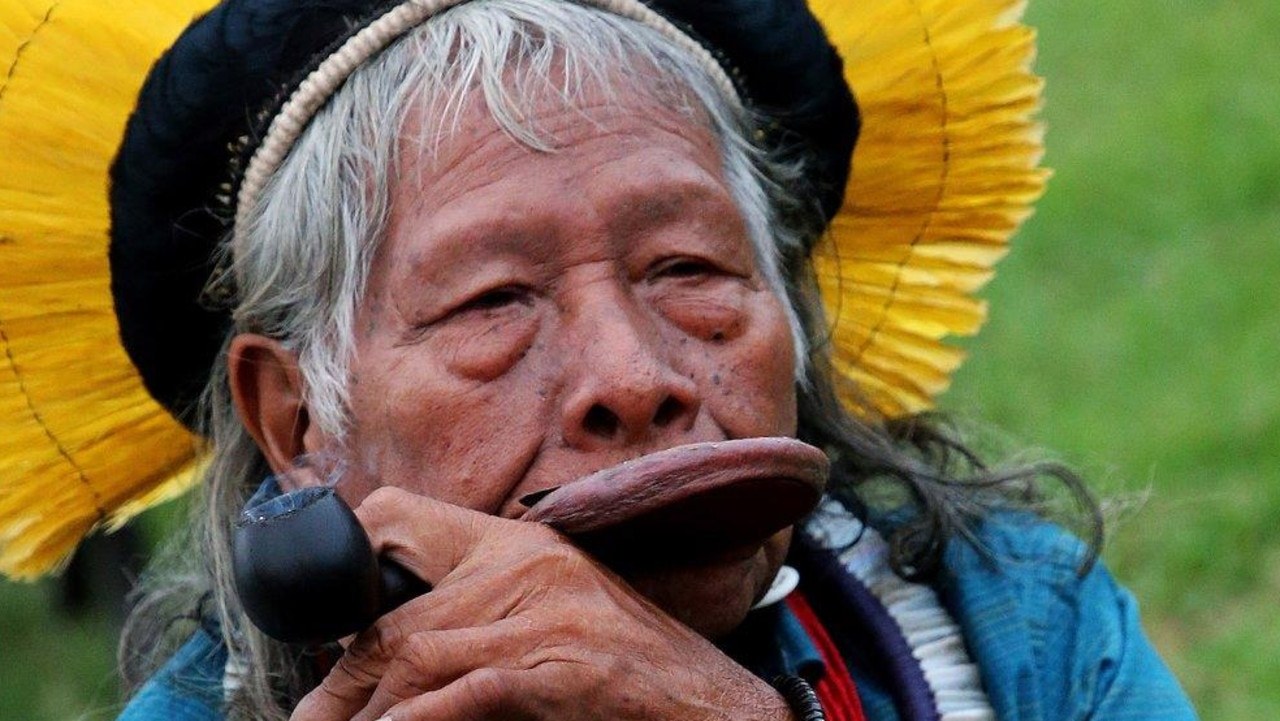 Kayapo leader Raoni Metuktire, whose people are from the Amazon, was in France for the G7 meeting to try to convince world leaders to fight to stop the deforestation of the rainforest. Picture: AP