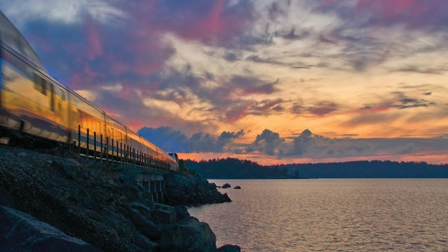 Riding the rails on one of the US's scenic trainlines.