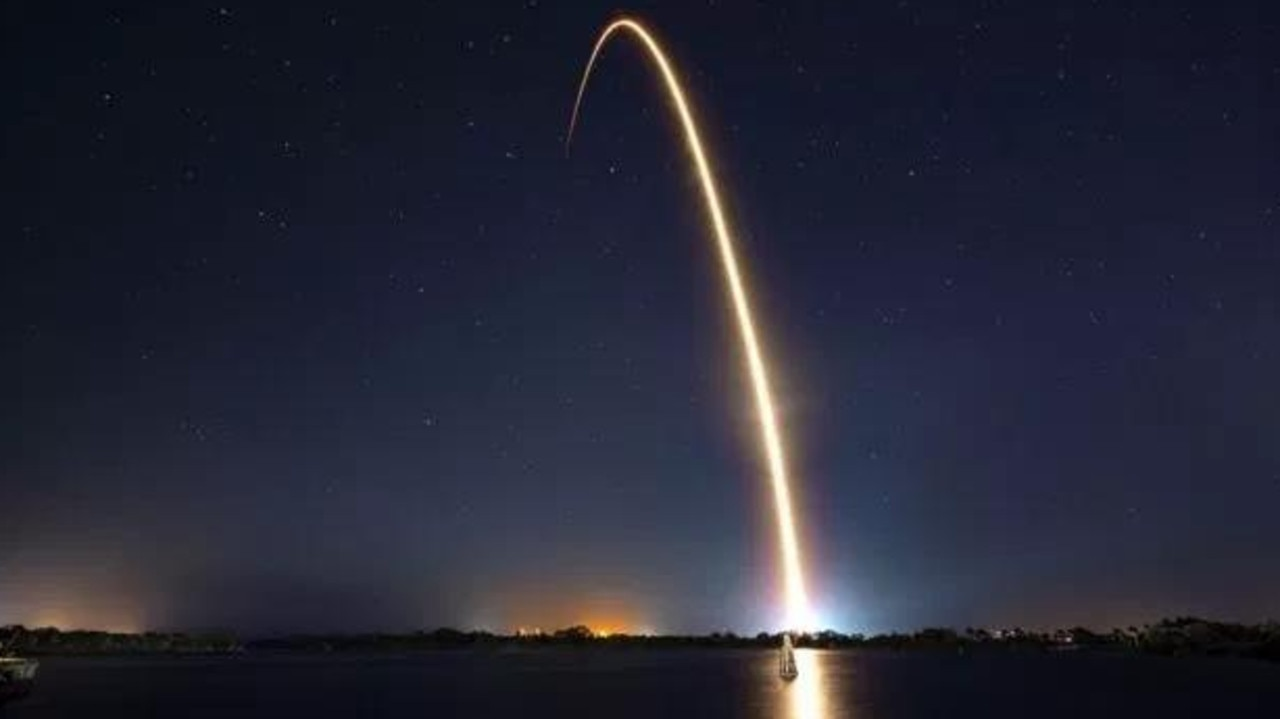 Beresheet was launched in February on a SpaceX rocket. Picture: SpaceX