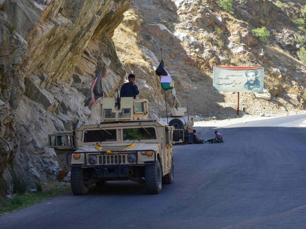 Anti-Taliban uprising forces patrol in Panjshir province in August. Picture: Ahmad Sahel Arman/AFP