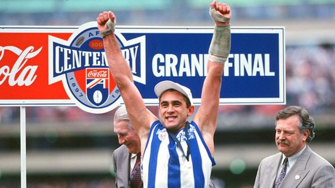 This is the picture of Wayne Schwass, standing on the podium at the 1996 AFL Grand Final. Picture: Wayne Schwass/Twitter
