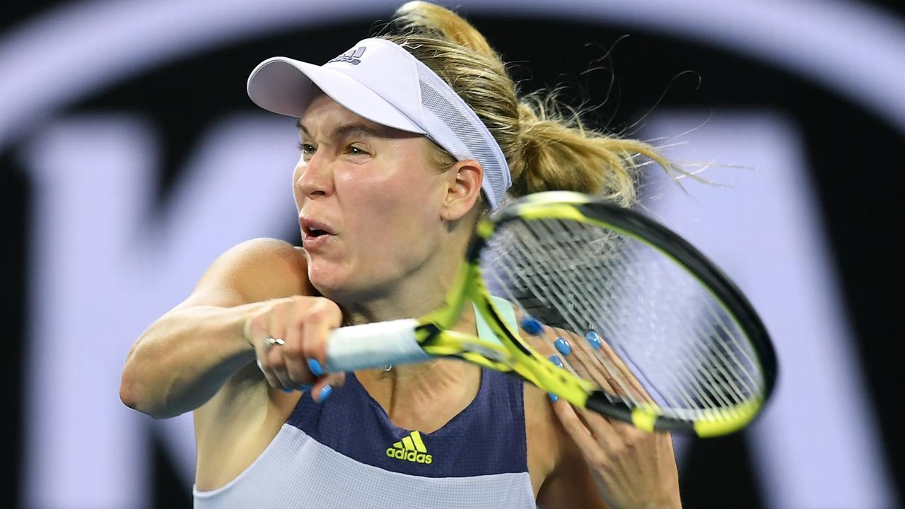 Caroline Wozniacki says she is retiring, but didn't play like someone in the twilight of their career against Kristie Ahn. Picture: AAP