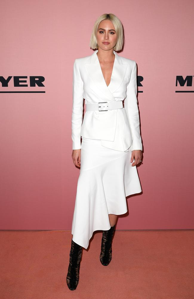 Jesinta Franklin arrives at the Myer Spring/Summer 2018 runway show. Picture: Dan Himbrechts/AAP