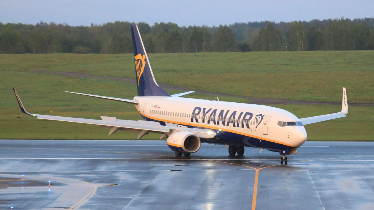 The Ryanair flight eventually landed in Vilnius, minus five original passengers: Mr Protasevich, Ms Sapega and three others, believed to be Belarusian KGB agents. Picture: Petras Malukas/AFP