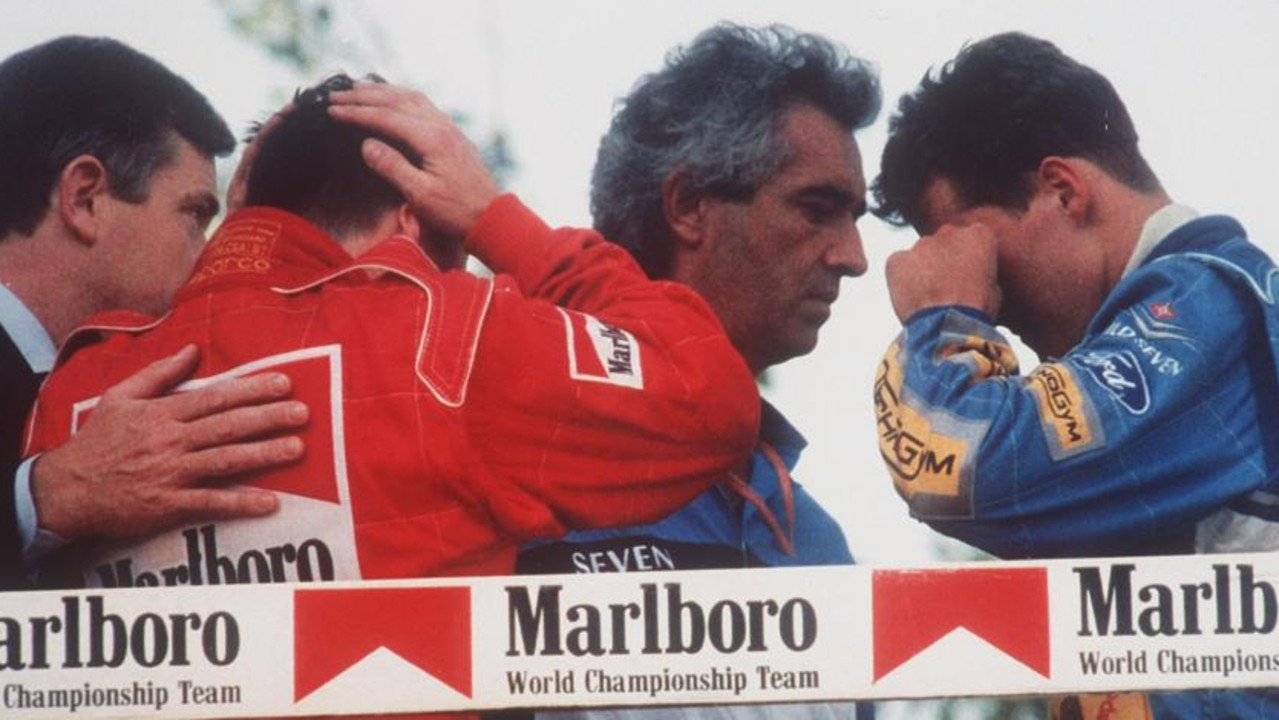 Schumacher (right) and everyone in F1 was heartbroken by Senna's death. (AP-Photo/stf/Claudio Luffoli)