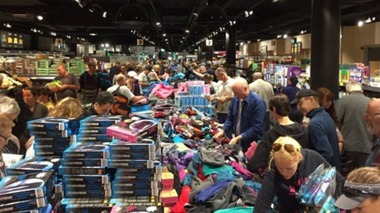 The annual ski sale often causes chaotic scenes.