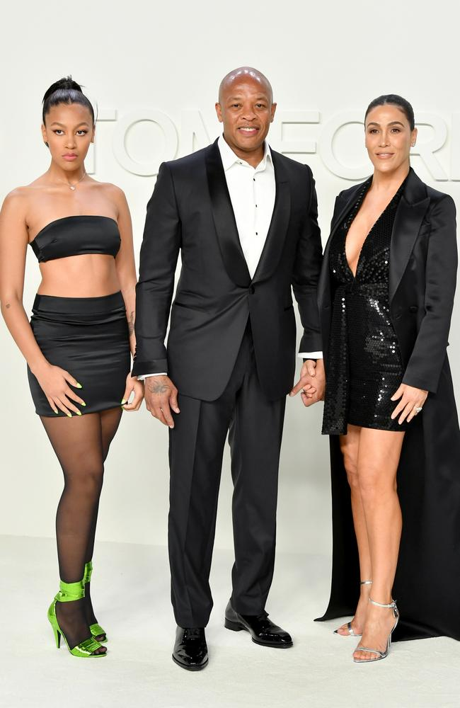 Dr Dre and Nicole Young with their daughter, Truly Young (left). Picture: Amy Sussman/Getty Images