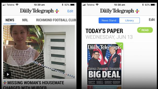 """Be alerted to breaking news as it happens or simply tap """"Today's paper"""" to read the newspaper as it was printed"""