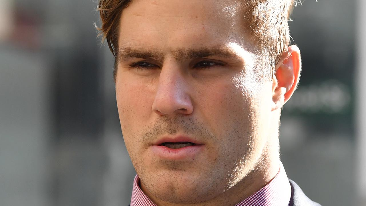 NRL star Jack de Belin and friend Callan Sinclair are on trial for raping a young woman in 2018. Picture: NCA NewsWire/Joel Carrett