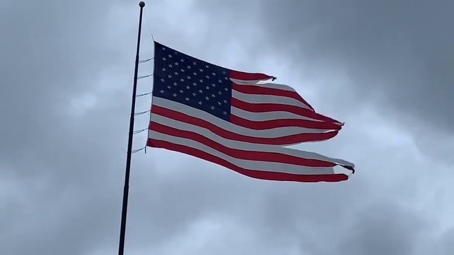 Tattered American Flag Flies High After Hurricane Sally in Destin, Florida