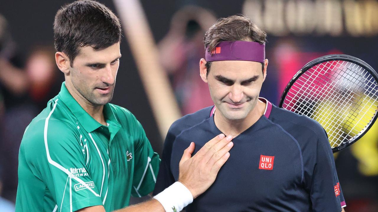 Novak Djokovic and Roger Federer after the Australian Open semi-final.
