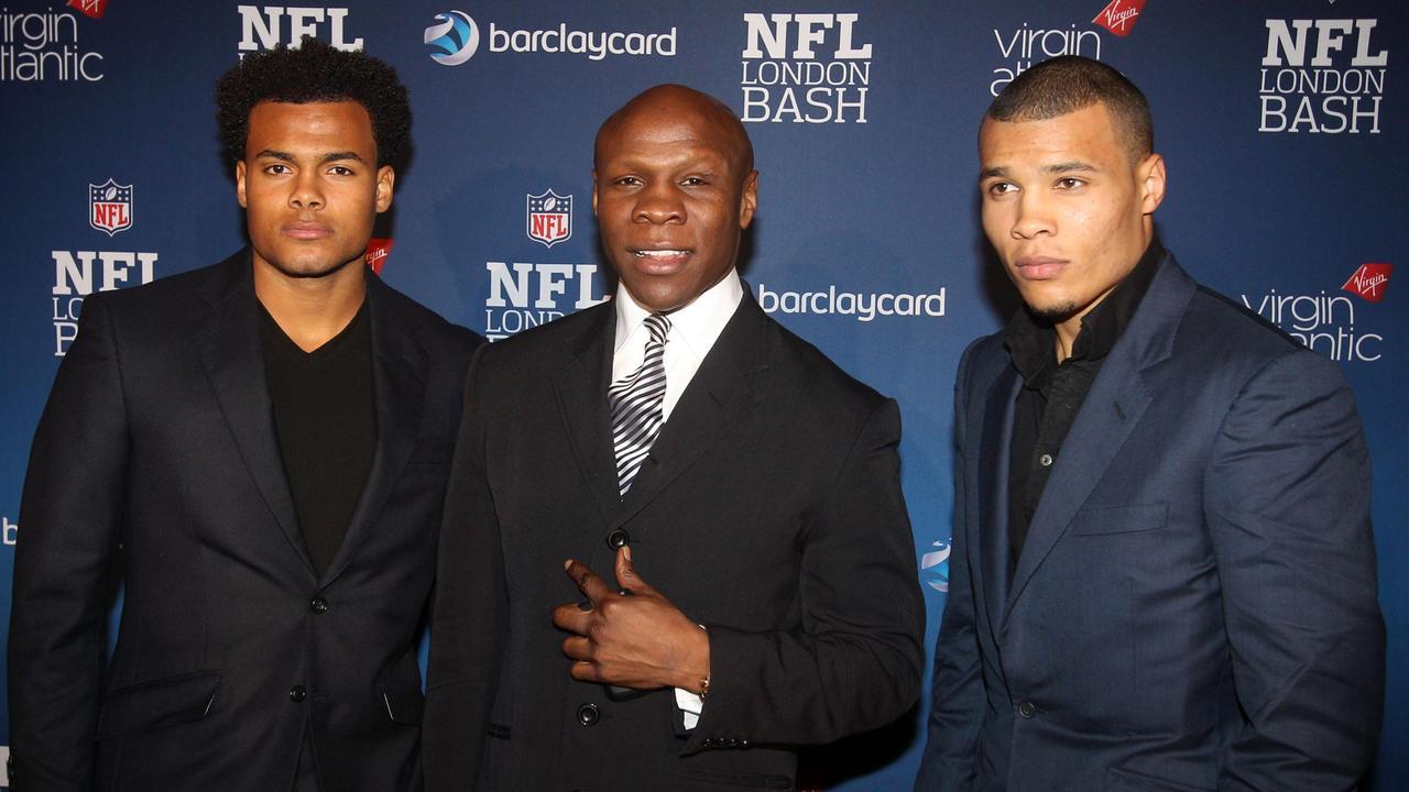 Chris Eubank with two of his sons Sebastian Eubank (left) Chris Eubank Junior (right),