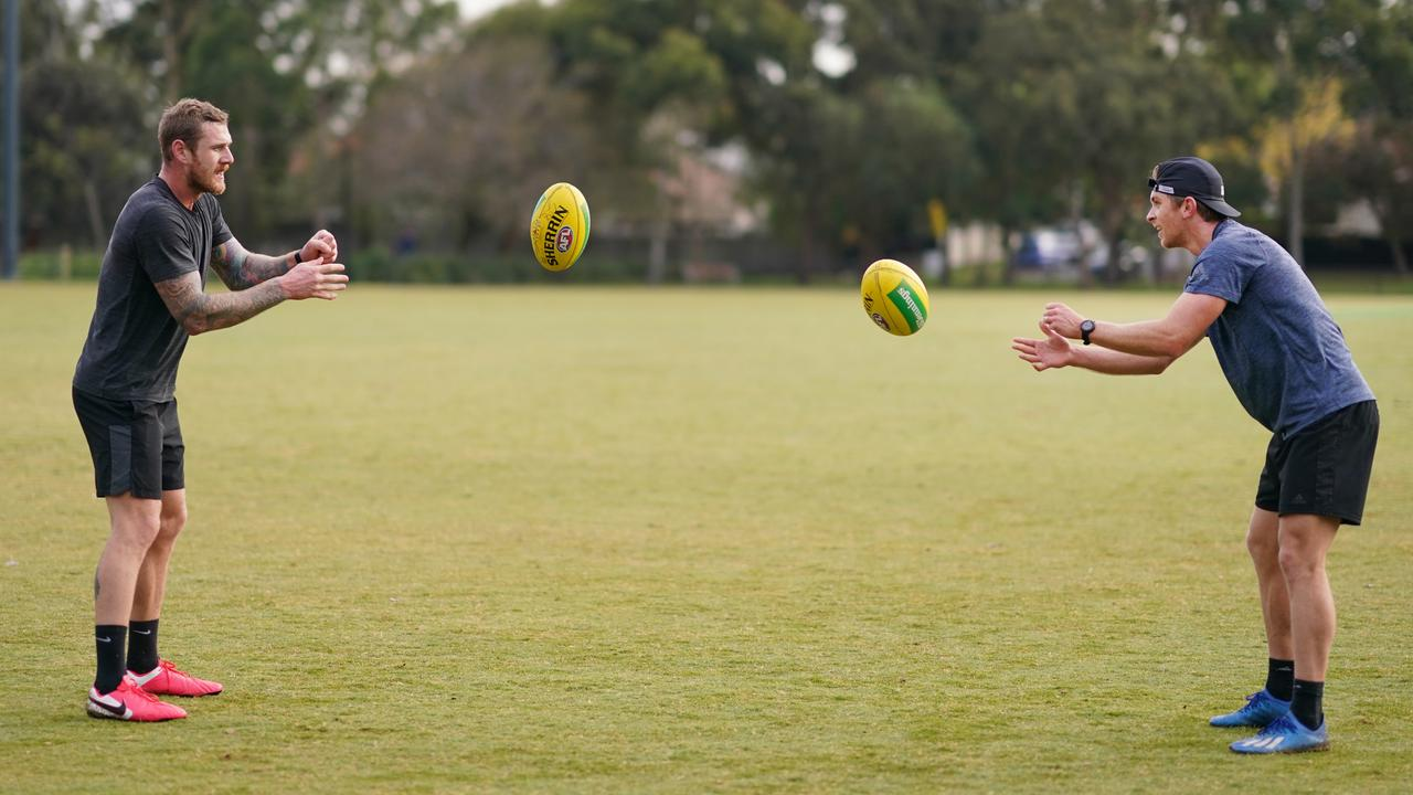 Tim Membrey and Seb Ross training during lockdown last year. Picture: Michael Dodge