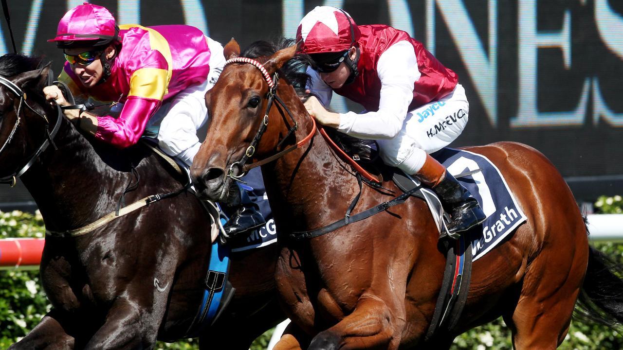 Racehorse Anise ridden by jockey Kerrin McEvoy winning race 1, Kindergarten Stakes at Royal Randwick Racecourse in Sydney.
