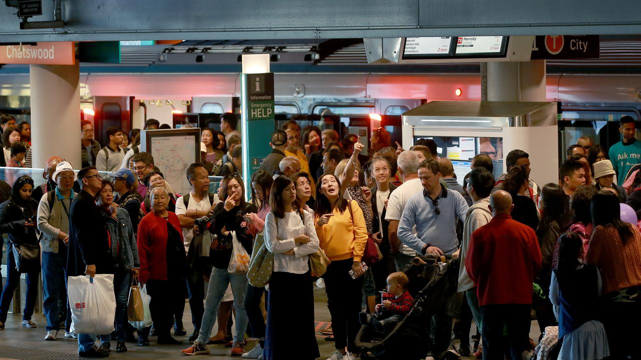 People lined the platform in Chatswood. Picture: Toby Zerna