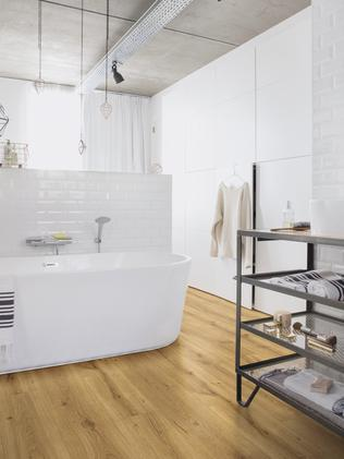 Quick-Step's Majestic laminate flooring is waterproof, so it can be used in bathrooms. Picture: Quick-Step
