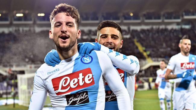 Napoli's Dries Mertens celebrates with his teammate Insigne.