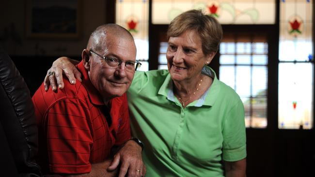22/01/15 - Wallaroo man John Gross has brain damage after being garrotted by a rope while cycling along Ocean View Drive in North Beach. Pictured at his Wallaroo home with Margaret. Photo Tom Huntley