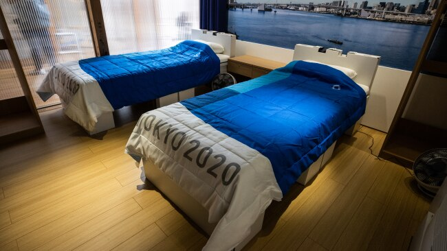 The beds in the Tokyo 2020 athletes village have a recycled cardboard frame. Picture: Getty Images