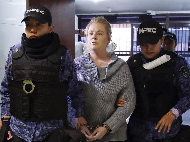 Cassandra Sainsbury, of Australia, arrives for a court hearing in Bogota, Colombia, on July 26. Picture: AP Photo/Fernando Vergara