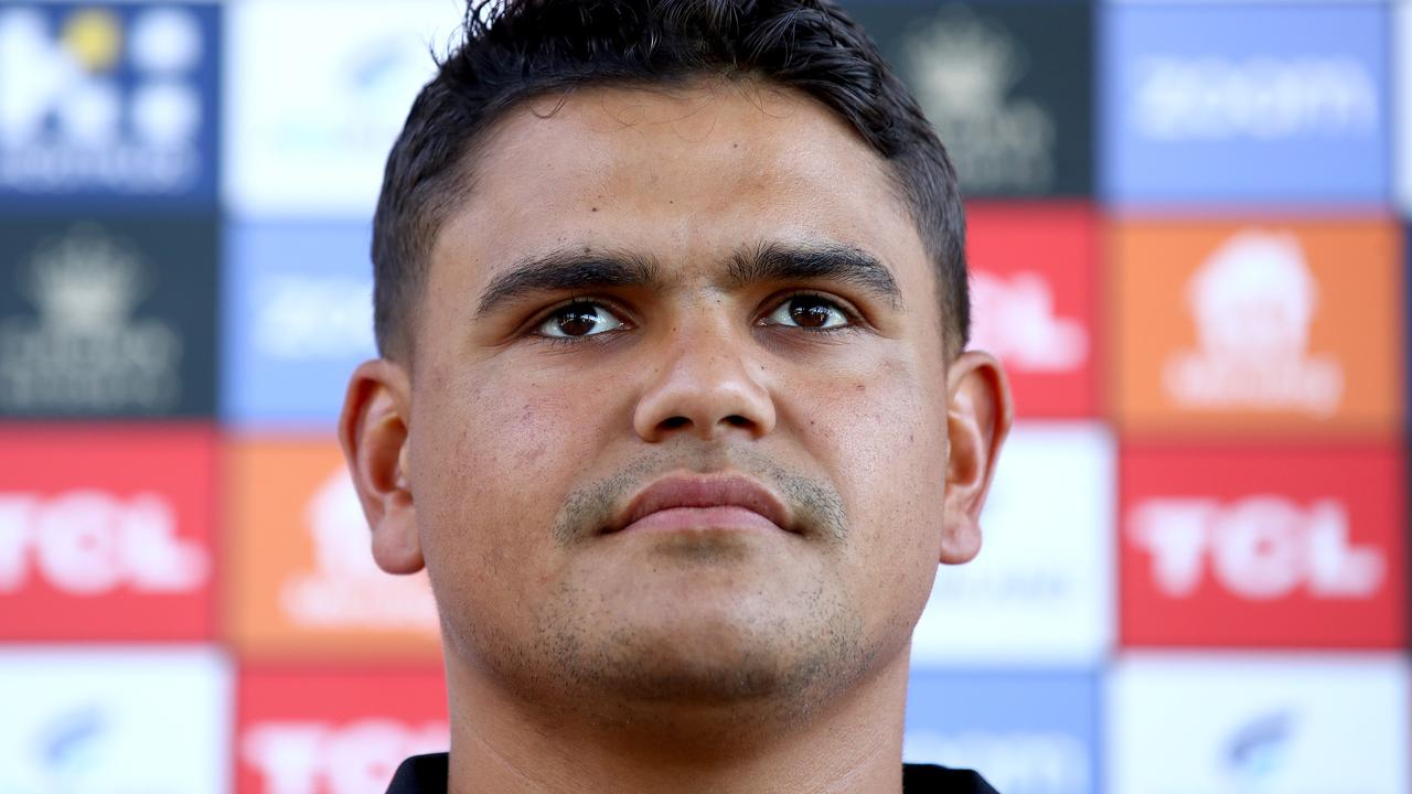 Two men have been charged for allegedly sending racially abusive messages over social media to NRL star Latrell Mitchell. Picture: Toby Zerna