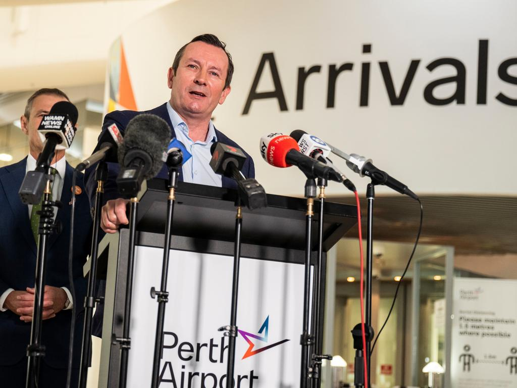 WA Premier Mark McGowan announced on Tuesday the state would open to NSW and Victoria on December 8 on the condition there were no cases of community transmission. Picture: NCA NewsWire/Tony McDonough