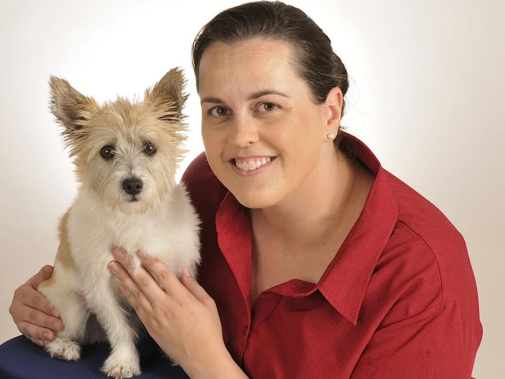 Specialist veterinarian in emergency and critical care Dr Rachel Peacock with her own pet Tesla.