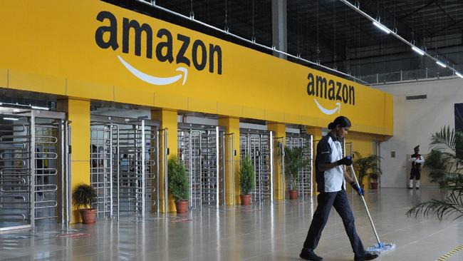 US online retail giant Amazon could be in Australia within weeks. Picture: AFP/Noah Seelam