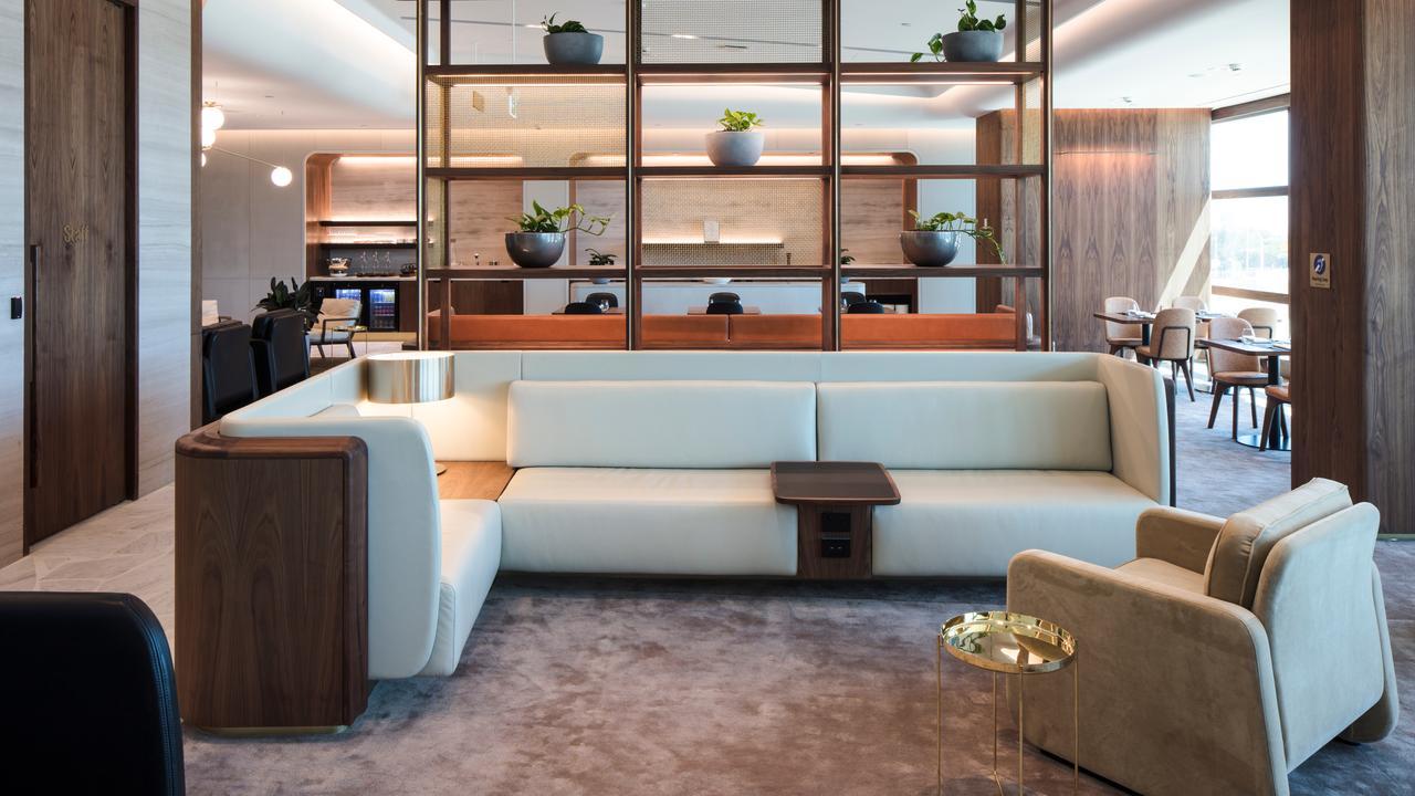 Photos of Qantas' Chairman's Lounge at Brisbane Airport.