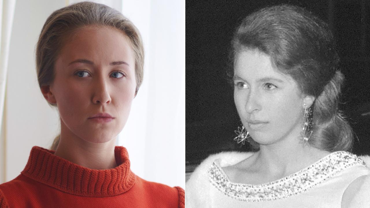 Erin Doherty portraying Princess Anne in a scene from the third season of The Crown, left, and Princess Anne arriving at the Royal Opera House in London in 1968. Pictures: Netflix, left, and AP Photo