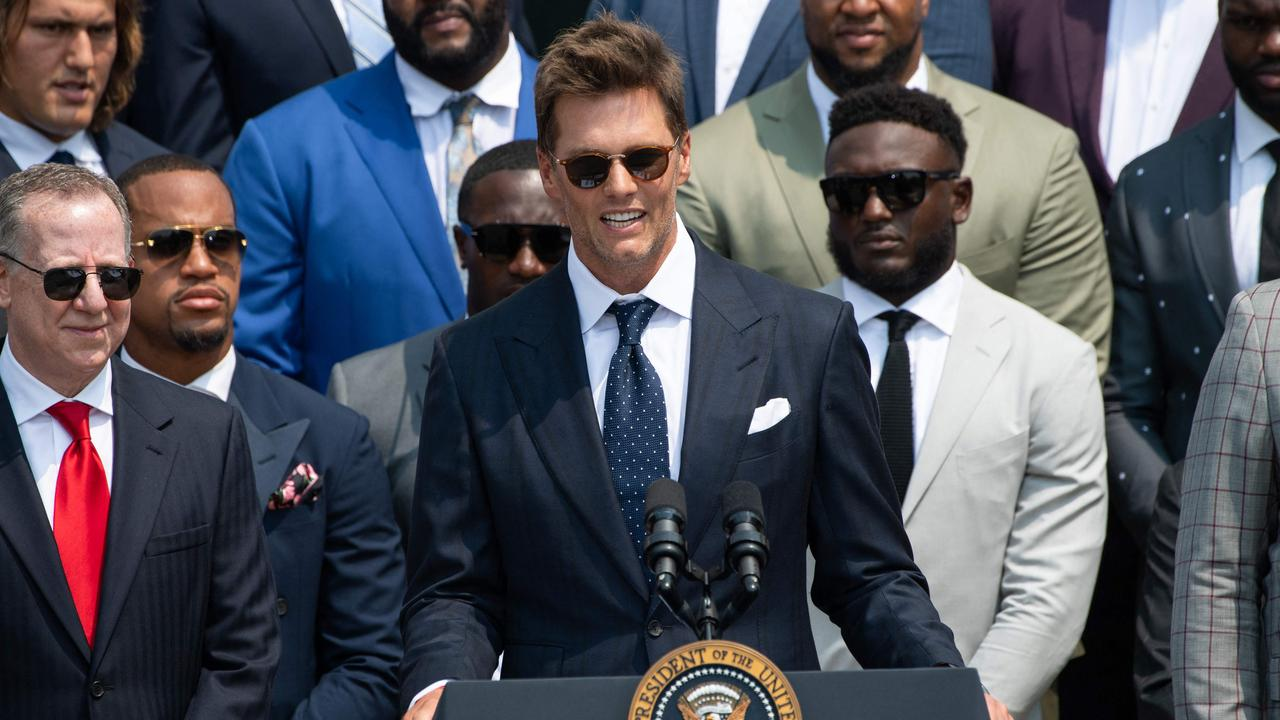 Tampa Bay Buccaneers quarterback Tom Brady speaks during a ceremony hosted by US President Joe Biden honouring the Tampa Bay Buccaneers NFL football team for their Super Bowl LV Championship. (Photo by SAUL LOEB / AFP)