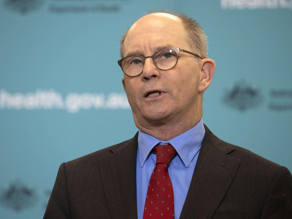 Chief medical officer professor Paul Kelly says over 50s need to get inoculated against coronavirus because the benefits outweigh the risks. Picture: NCA NewsWire / Gary Ramage