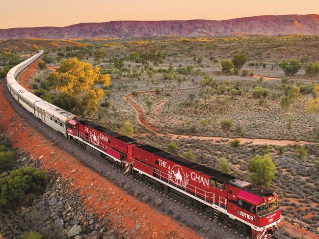 1. THE GHAN (Adelaide to Darwin) Keen to experience Australia's fiery Red Centre on what is considered one of the world's greatest rail journeys? The Ghan, steeped in history and romance, might be noted for its off-train experiences (enjoying the sunset at Uluru, wine tasting in the Clare Valley, cruising Katherine River in Nitmiluk National Park among them), but it's what's offered on-board for this 2795km, three-day, two-night trip that makes this a bucket-list regular. Choose between Gold Service and Platinum Service (the latter includes more luxurious private cabins plus a wealth of extras such as Bollinger, a nightcap at turndown and access to the Platinum Club lounge), or go to town and book one of the packages in the Chairman's Carriage. Regardless of your service level, you'll enjoy all-inclusive meals, fine wines, attentive service and memories to last a lifetime. Priced from $1919 per person.